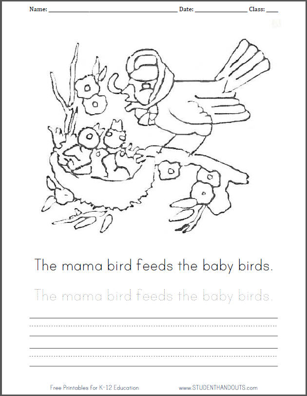 The mama bird feeds the baby birds. Free printable coloring page for kids with handwriting practice.