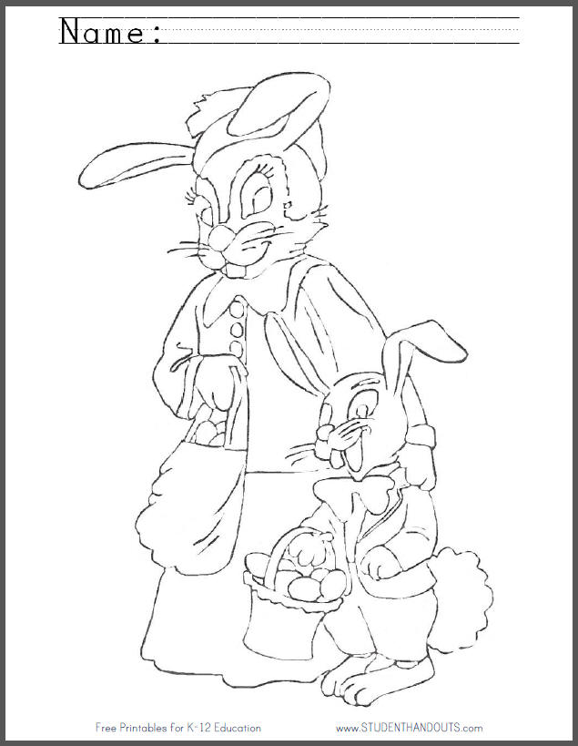 Mother and Son Bunny Rabbits Coloring Page for Kids