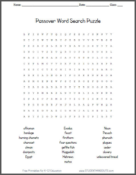 Passover Word Search Puzzle for Kids