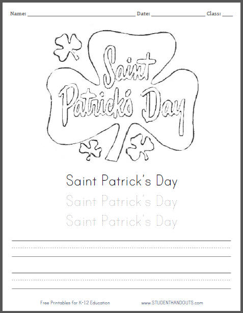 Saint Patrick's Day Shamrock Coloring Page for Kids