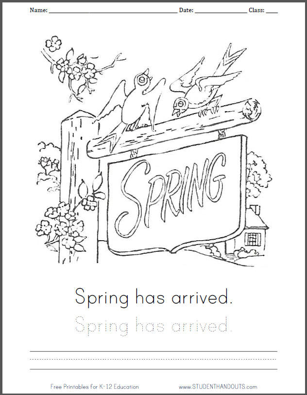 Spring is here coloring page with handwriting practice