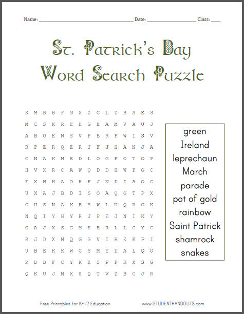 picture relating to St Patrick Word Search Printable identify Saint Patricks Working day Phrase Glance Puzzle College student Handouts