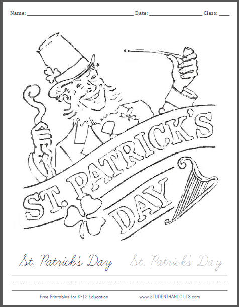 St. Patrick's Day Banner Coloring Page - Free Holiday Printable for Kids