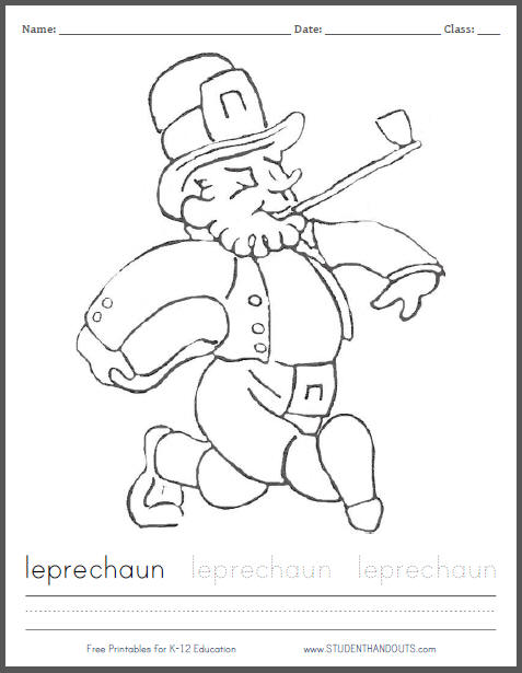 Leprechaun Coloring Page for St. Patrick's Day with Handwriting and Spelling Practice