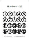 Printable Sheet with Numbers 1-20 for Classroom Organization