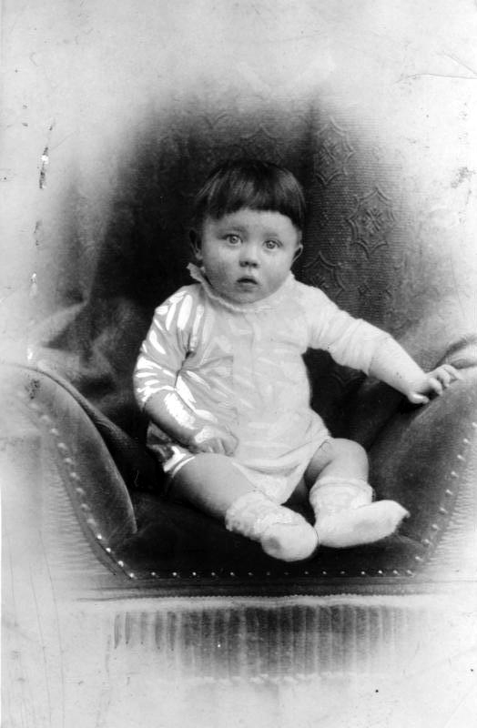 Adolf Hitler (1889-1945) as an infant. This innocent-looking baby, born in Braunau am Inn, Austria-Hungary, would ultimately be responsible for the deaths of countless millions, including an estimated 6 to 8 million civilians--Jews, Roma (Gypsies), Poles, Soviets, disabled persons, Jehovah's Witnesses, homosexuals, and others.