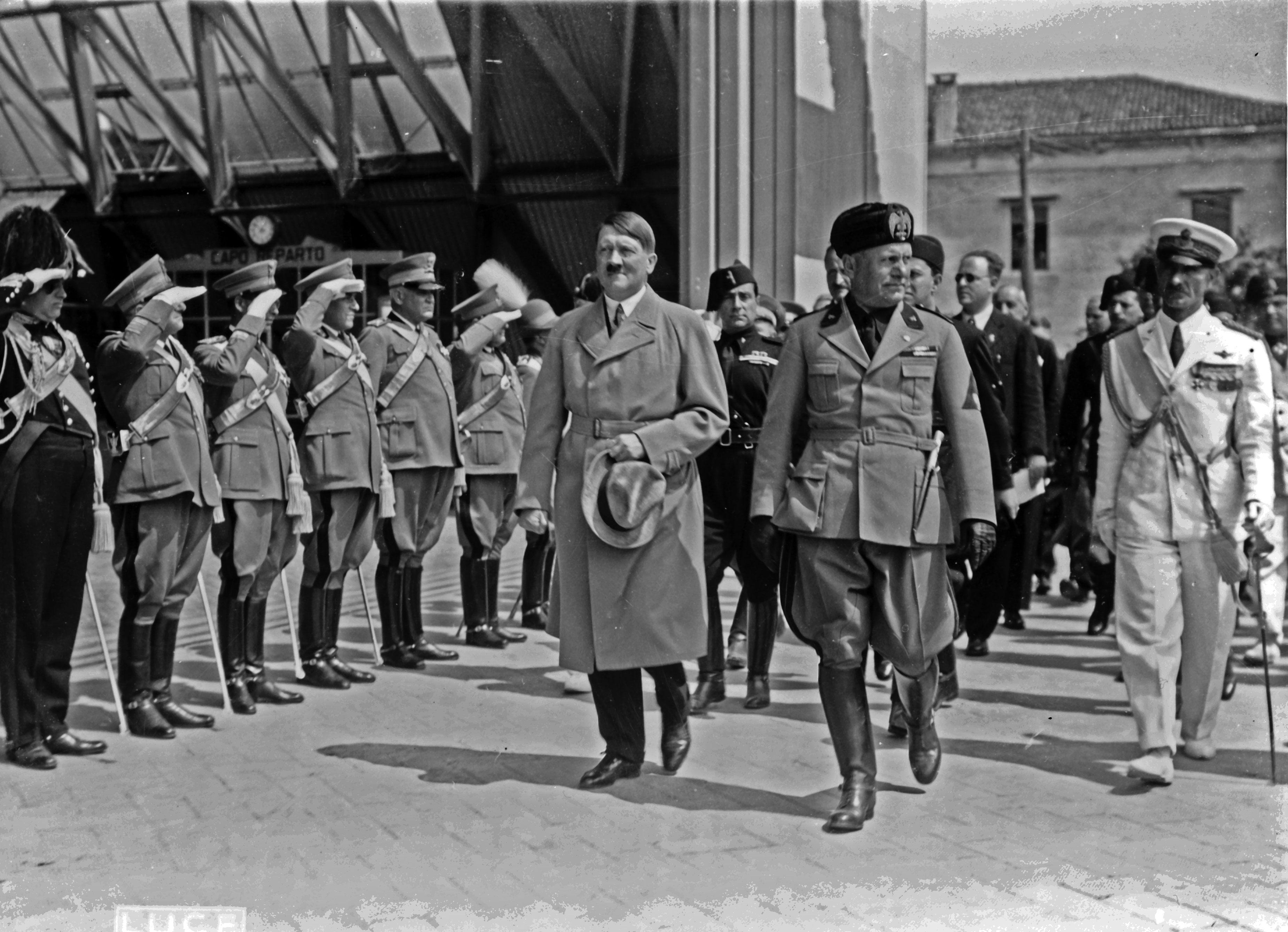 Adolf Hitler (left) and Benito Mussolini (right) in Venice, Italy, in June of 1934. Two years later, in 1936, the two dictators would form an Axis between their two countries, Germany and Italy.