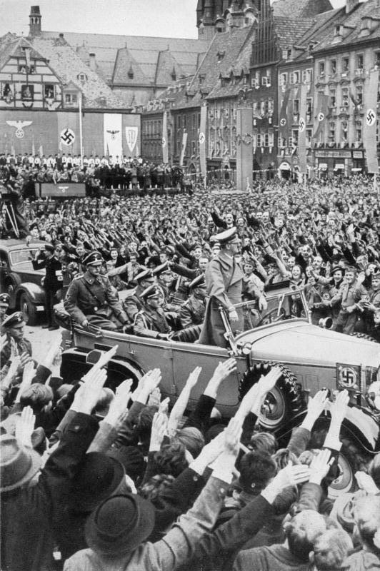 Adolf Hitler in October, 1938, entering the Sudetenland. The Sudetenland region of Czechoslovakia (today the separate countries of Slovakia and the Czech Republic) had a sizeable German population. Provisions of the Munich Agreement allowed Germany to annex the Sudetenland.