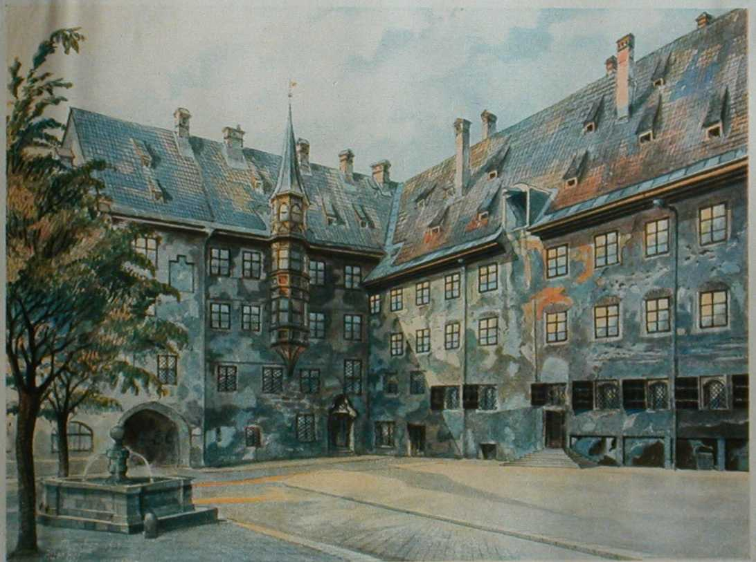 Adolf Hitler painting, The Courtyard of the Old Residency, Munich (1914).  Before World War I, Adolf Hitler struggled as an artist in Vienna, the capital city of the Austro-Hungarian empire.