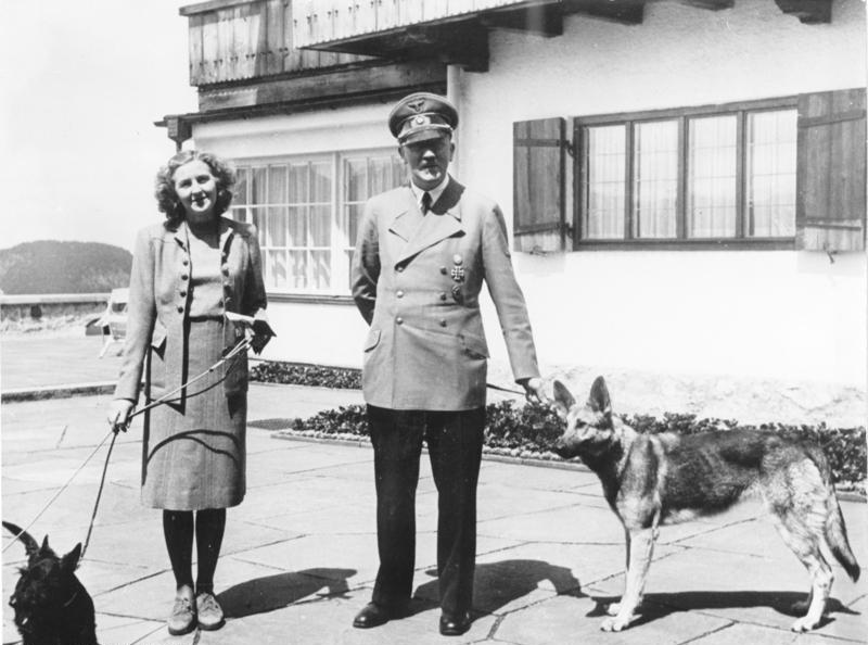 Eva Braun (1912-1945) and Adolf Hitler (1889-1945) at the Berghof, Germany, on June 14, 1942. Eva Braun was Hitler's mistress for many years. Facing defeat against the Allies, Hitler married Braun in a Berlin bunker shortly before the pair committed suicide on April 30, 1945.