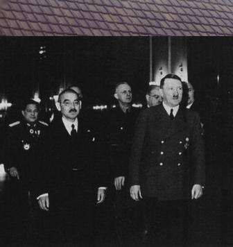 Adolf Hitler (1889-1945, on the right) being visited by Japanese Foreign Minister Yosuke Matsuoka (1880-1946, on the left), in March of 1941. Germany, Japan, and Italy had signed the Tripartite (Axis) Pact in September of the previous year (September 27, 1940).