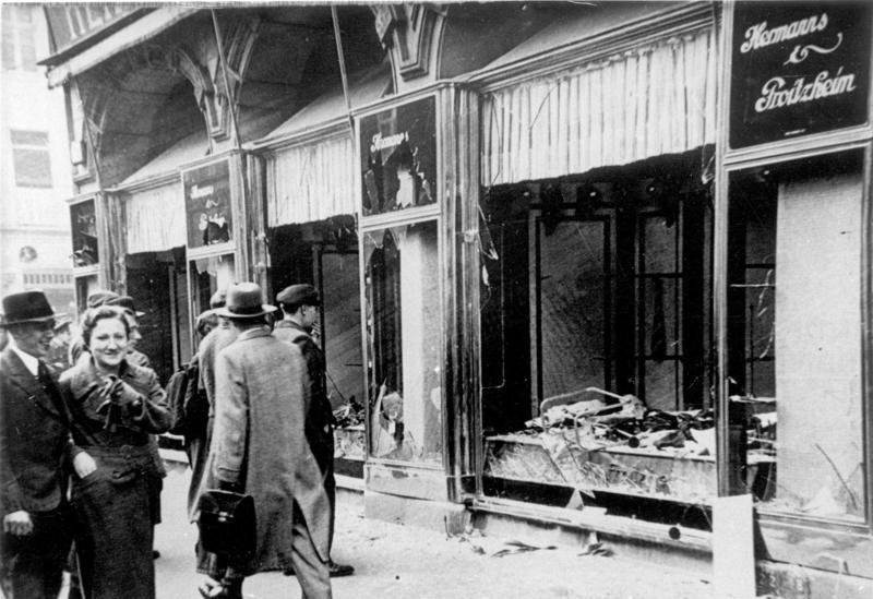 "Kristallnacht - ""The Night of Broken Glass"" - the morning after in Magdeburg, Germany (November, 1938). The Nazi Party of Adolf Hitler actively encouraged anti-Semitism. Jewish businesses were targeted throughout Germany."