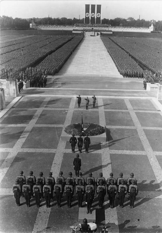 Adolf Hitler at a Nazi rally in Nuremberg, Germany, in September of 1934. Nazi rallies were carefully choreographed and orchestrated events designed to be visually inspiring.