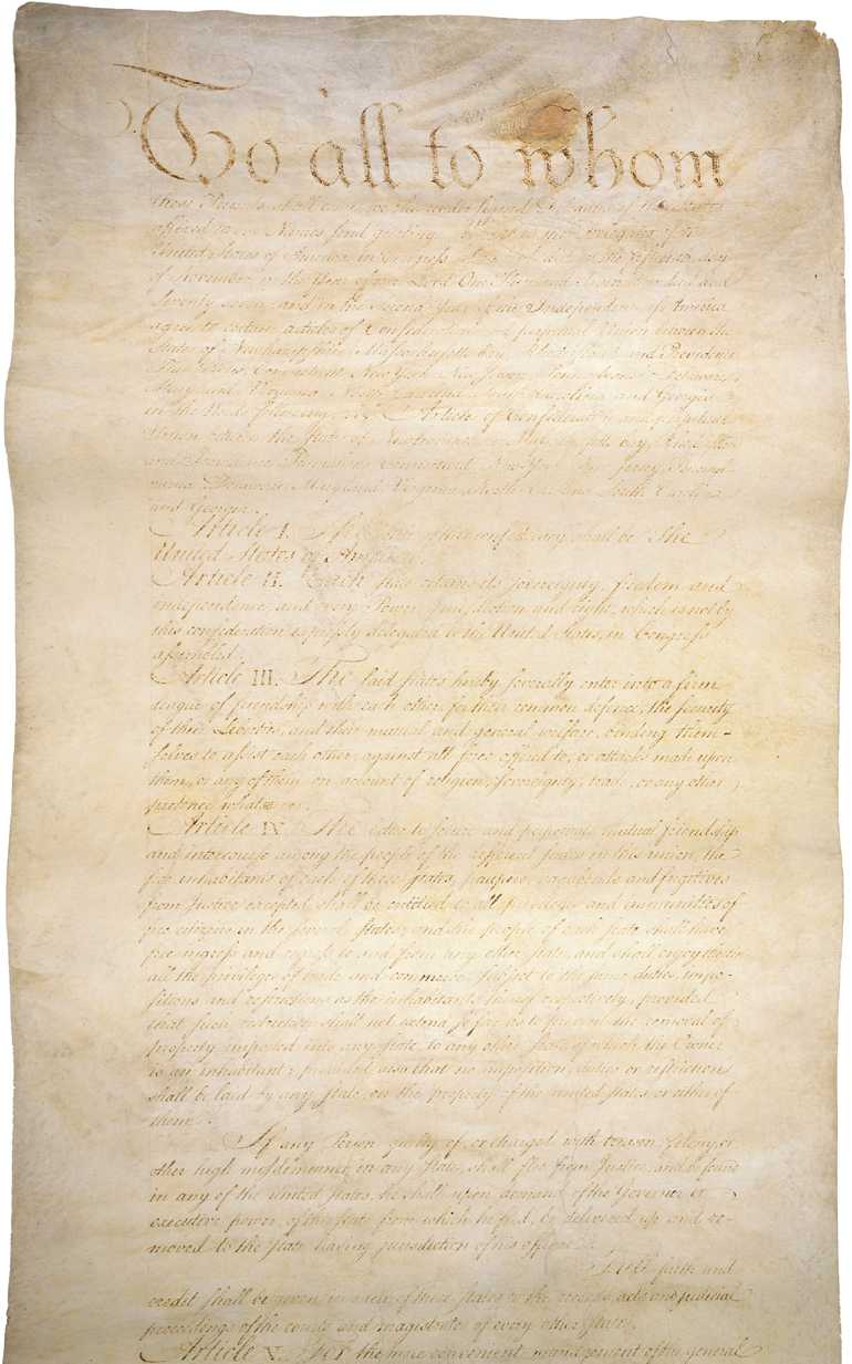 Articles of Confederation, 1781.  The Articles of Confederation provided for a loose and weak union between the former American colonies. The Articles were in effect until the United States Constitution was adopted in 1789.
