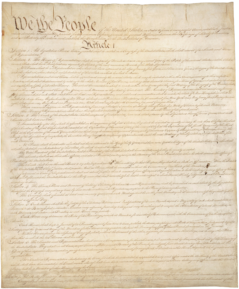 United States Constitution, 1789.  The U.S. Constitution replaced the Articles of Confederation, and created a strong federal government.  The Constitution was ratified based on the promise that amendments (the Bill of Rights), protecting individual rights and liberties, would quickly follow.