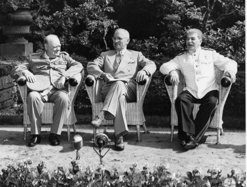 Potsdam Conference, July, 1945 - Winston Churchill (Great Britain), Harry S. Truman (United States) and Joseph Stalin (Soviet Union)