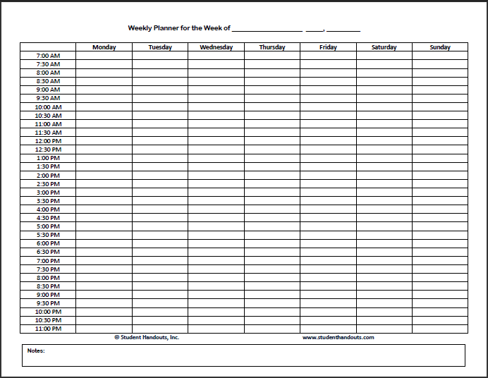 printable weekly hourly schedule