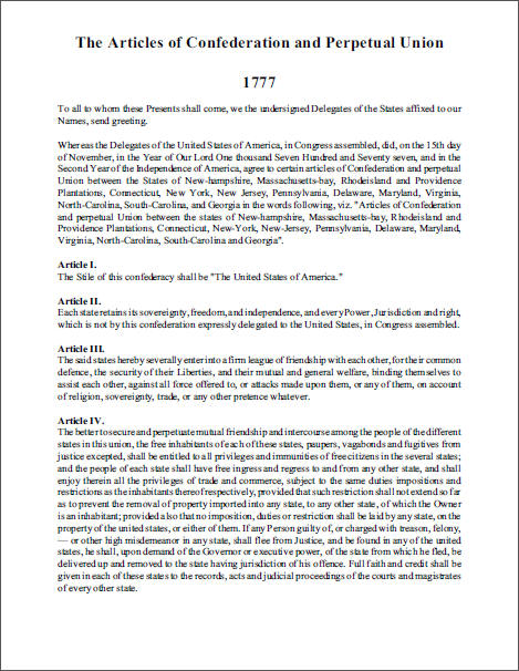 Articles of Confederation (1777) - Free to print (PDF file).