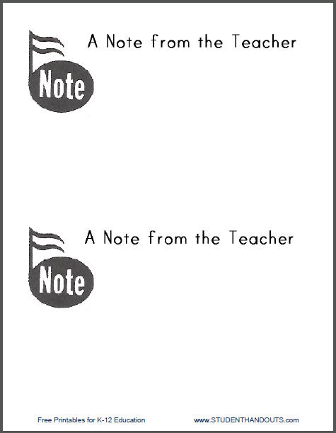 A Musical Note from the Teacher - Free to print (PDF file).