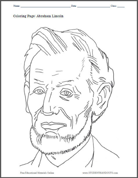 Abraham Lincoln Coloring Sheet for Kids