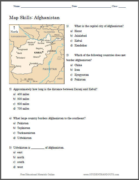 afghanistan map printable worksheet student handouts. Black Bedroom Furniture Sets. Home Design Ideas