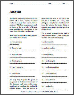 Anagrams Game Instructions Worksheet with Puzzles - Free to print (PDF file).