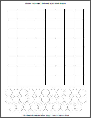 DIY Checkers - Print Your Own Checkerboard | Student Handouts
