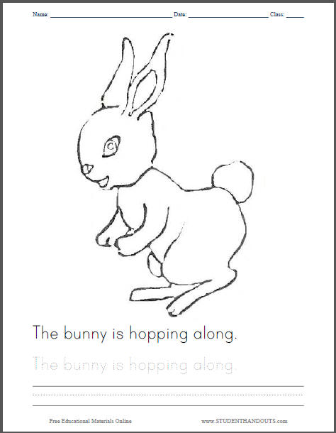 The Bunny Is Hopping Along Coloring Page for Kids