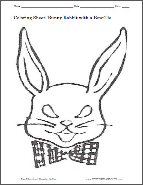 Bunny Rabbit with a Bow-Tie Coloring Sheet for Kids