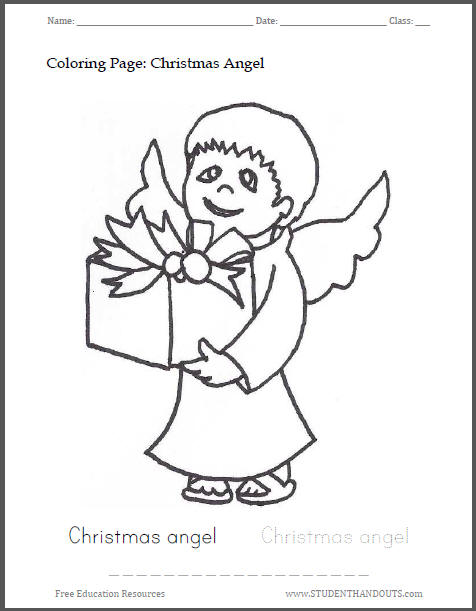 Christmas Angel Bearing a Gift Coloring Sheet for Kids