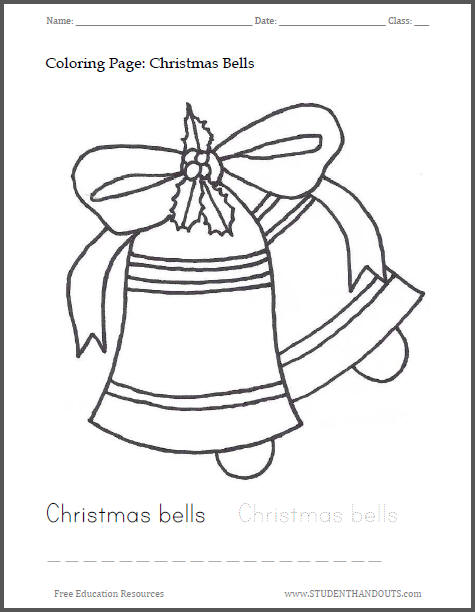 Christmas Bells Coloring Sheet for Kids