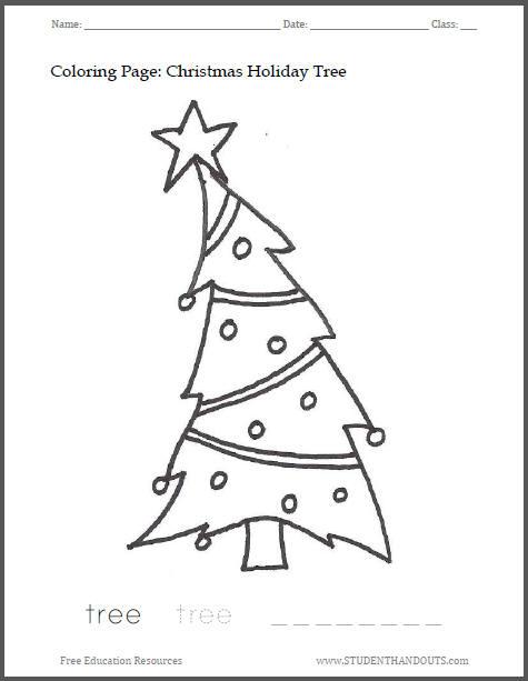Christmas Holiday Tree Coloring Sheet