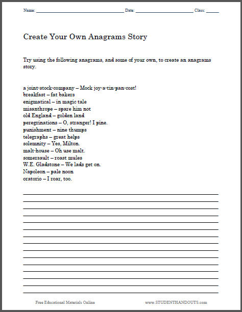 Create Your Own Anagrams Story Worksheet - Free to print (PDF file).