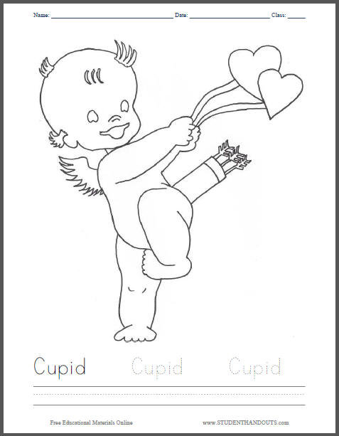 Cupid Coloring Sheet for Kids