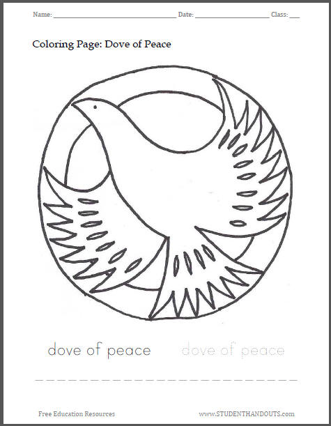 Dove of Peace Holiday Coloring Page for Kids - Free to print (PDF file).