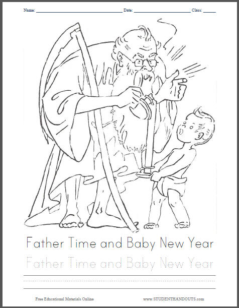 Father Time and Baby New Year Coloring Sheet
