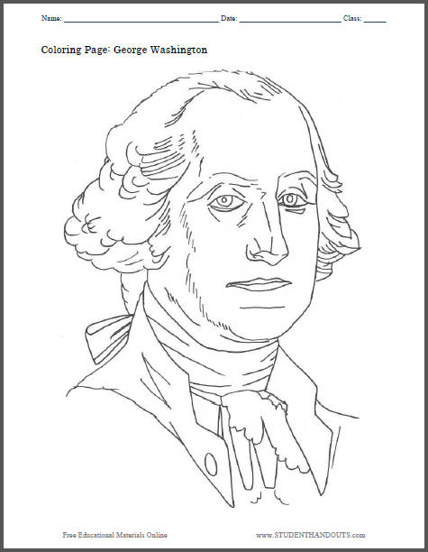 George Washington Coloring Page | Student Handouts