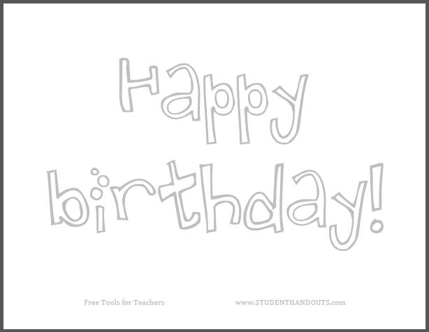 Happy Birthday Sign for Kids to Color - Free to print (PDF file).