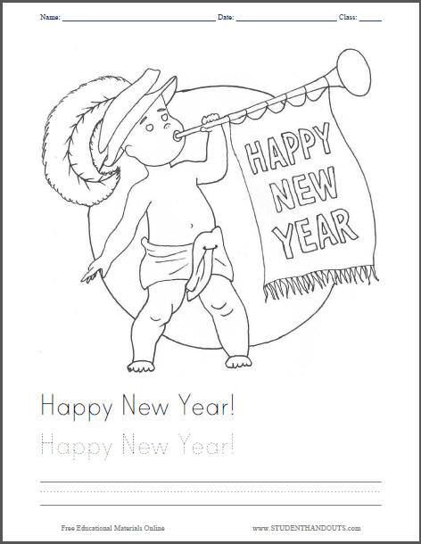 Happy New Year Coloring Page - Free to print (PDF file).