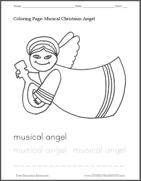 Musical Christmas Angel Coloring Sheet