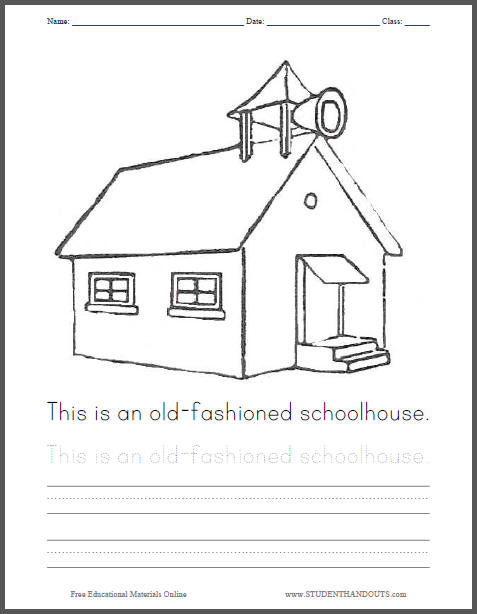 Old-Fashioned Schoolhouse Coloring Page - Free to print (PDF file) with handwriting practice in cursive or print.
