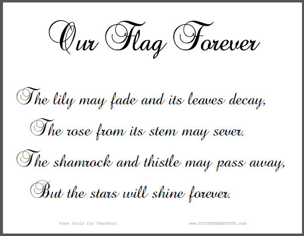 Our Flag Forever Classroom Sign - Free to print (PDF file).