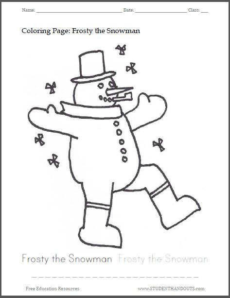 Frosty the Snowman Coloring Sheet for Kids
