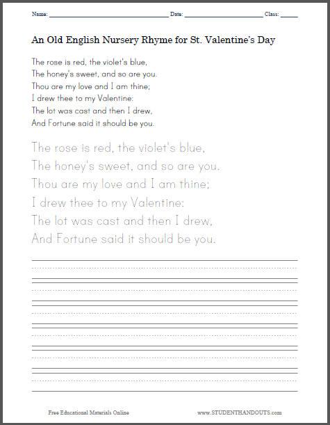 Old English St. Valentine's Day Nursery Rhyme Poem for Kids - Free Printable Handwriting Practice Worksheet