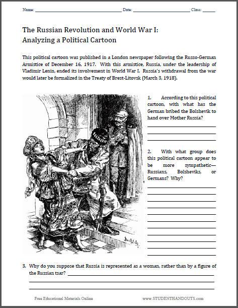 Treaty Of Brest Litovsk Political Cartoon Worksheet