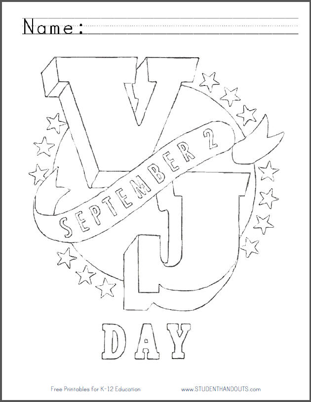 V-J Day Free Printable Coloring Sheet for Kids