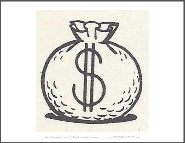 Money Bag Printable Sign