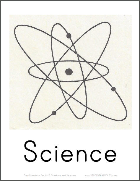 Science Room Printable Sign with Atom