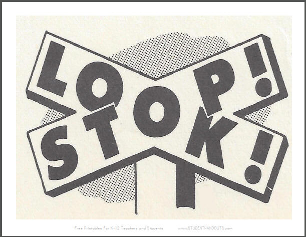 Stop and Look Classroom Sign in Railroad Crossing Style