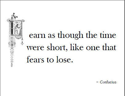 Learn as though the time were short, like one that fears to lose. - Confucius
